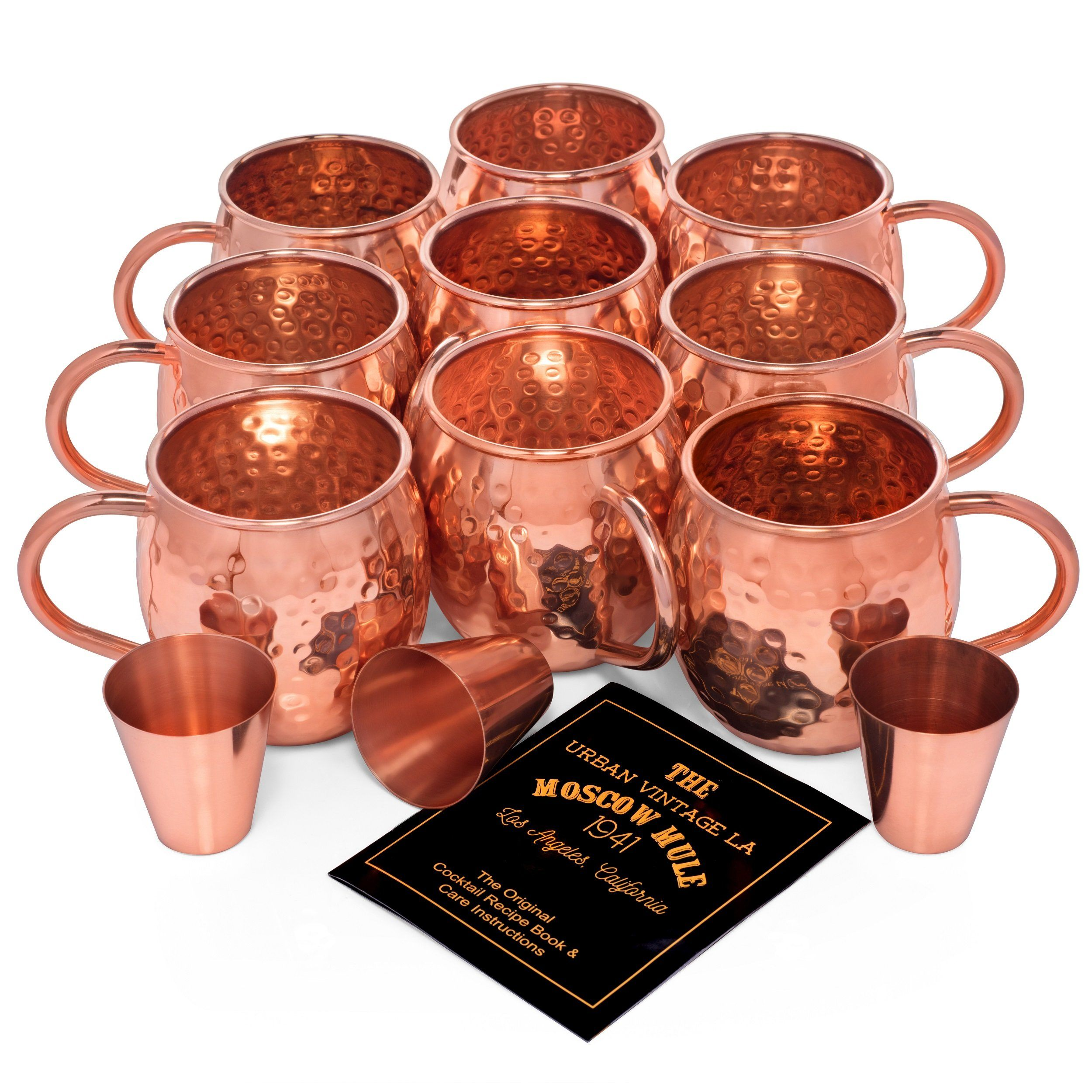 Set of 8 Unlined Urban Vintage LA Moscow Mule Copper Mugs Value Pack for Large Parties With Bonus Extra Mug and 3 Shot Glasses With Illustrated Recipe Book and Care Guide