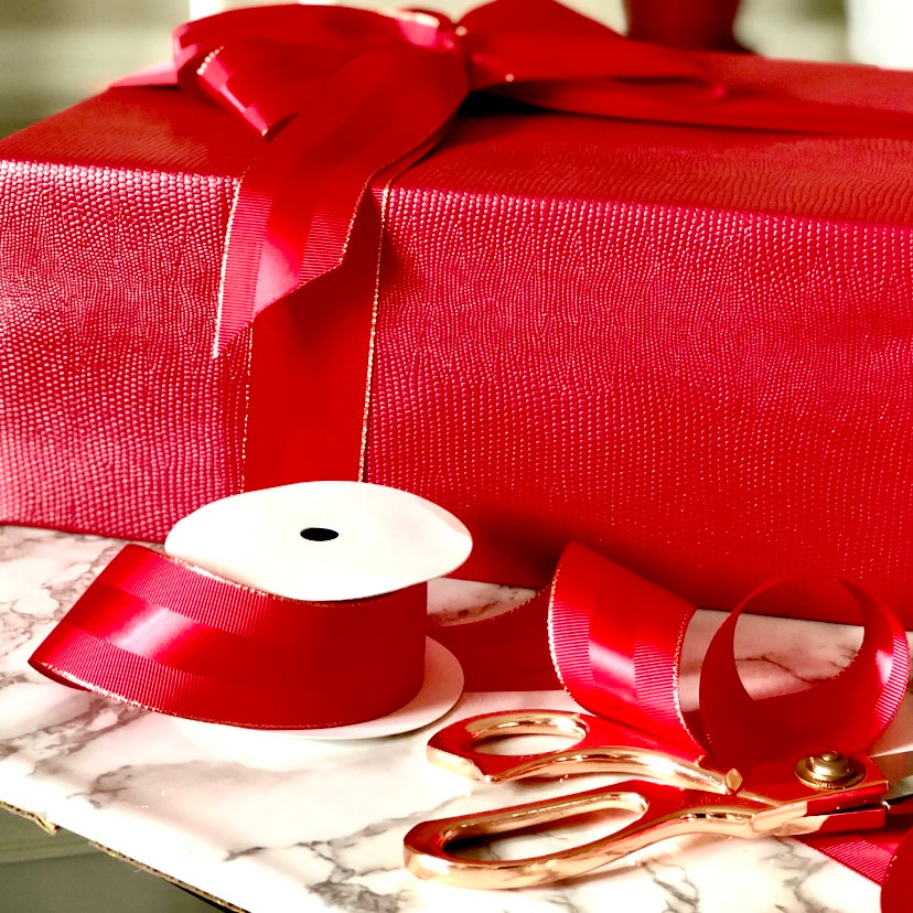 Urban Vintage LA Red Faux Leather Gift Wrap Paper and Red Grosgrain Ribbon with Copper Accents