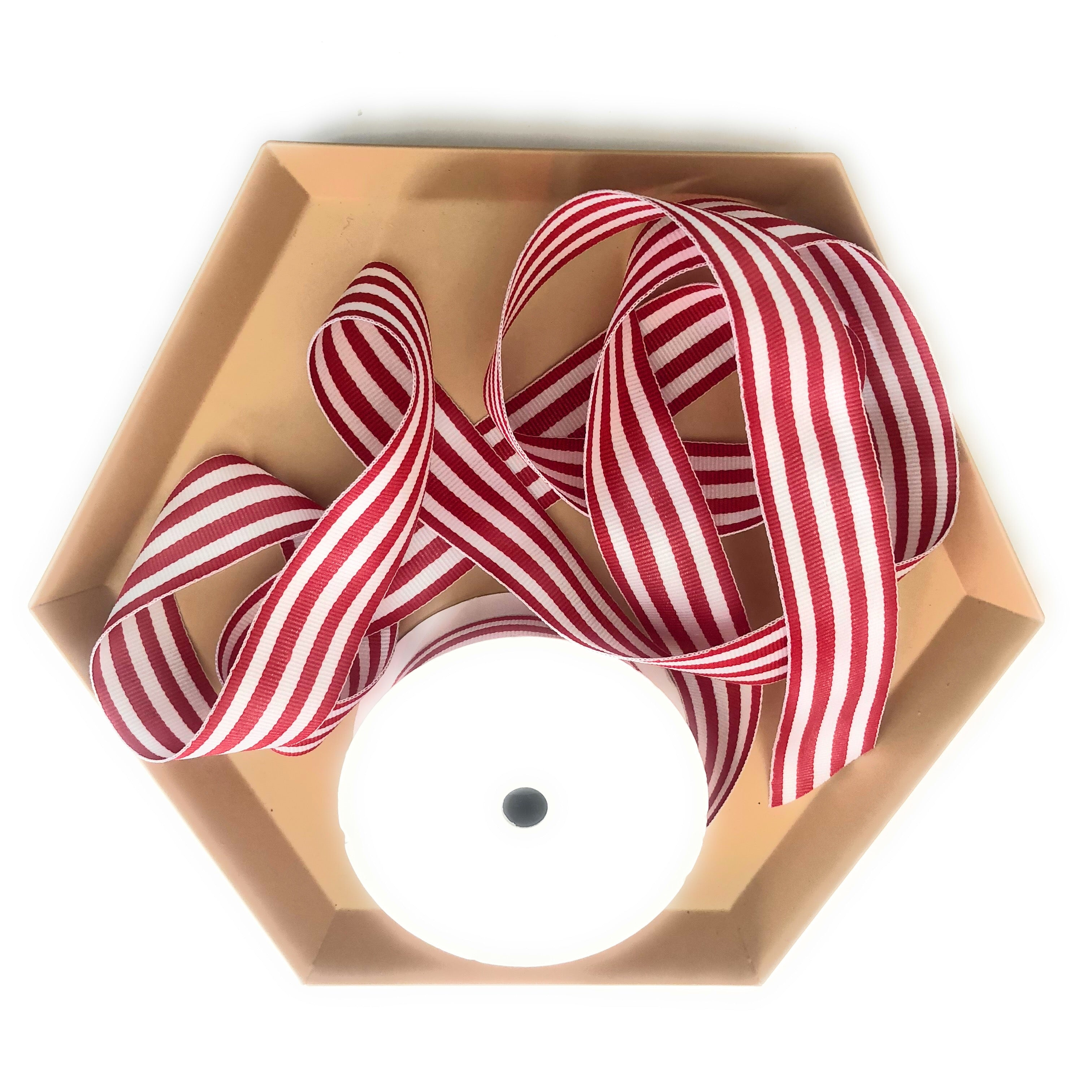 Red and White Striped Grosgrain Ribbon | Double Face Candy Striped Ribbon for Gifts
