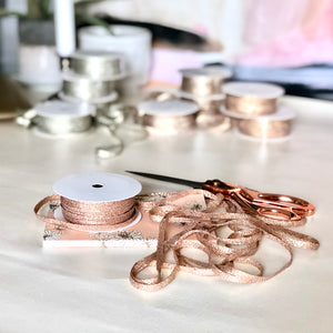 Rose Gold Metallic String Cord for Gifts | Thin Lasso Ribbon for Flower Bouquets & Gifts