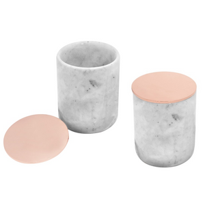 Set of 2 Marble Jars with Rose Gold Lid by Urban Vintage LA