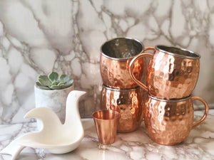 4 Urban Vintage LA Lined Copper Mugs With Shotglass and Marble Gray and White Background