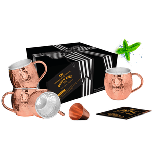 Urban Vintage LA Set of 4 Lined Moscow Mule Copper Mugs in Cardboard Box