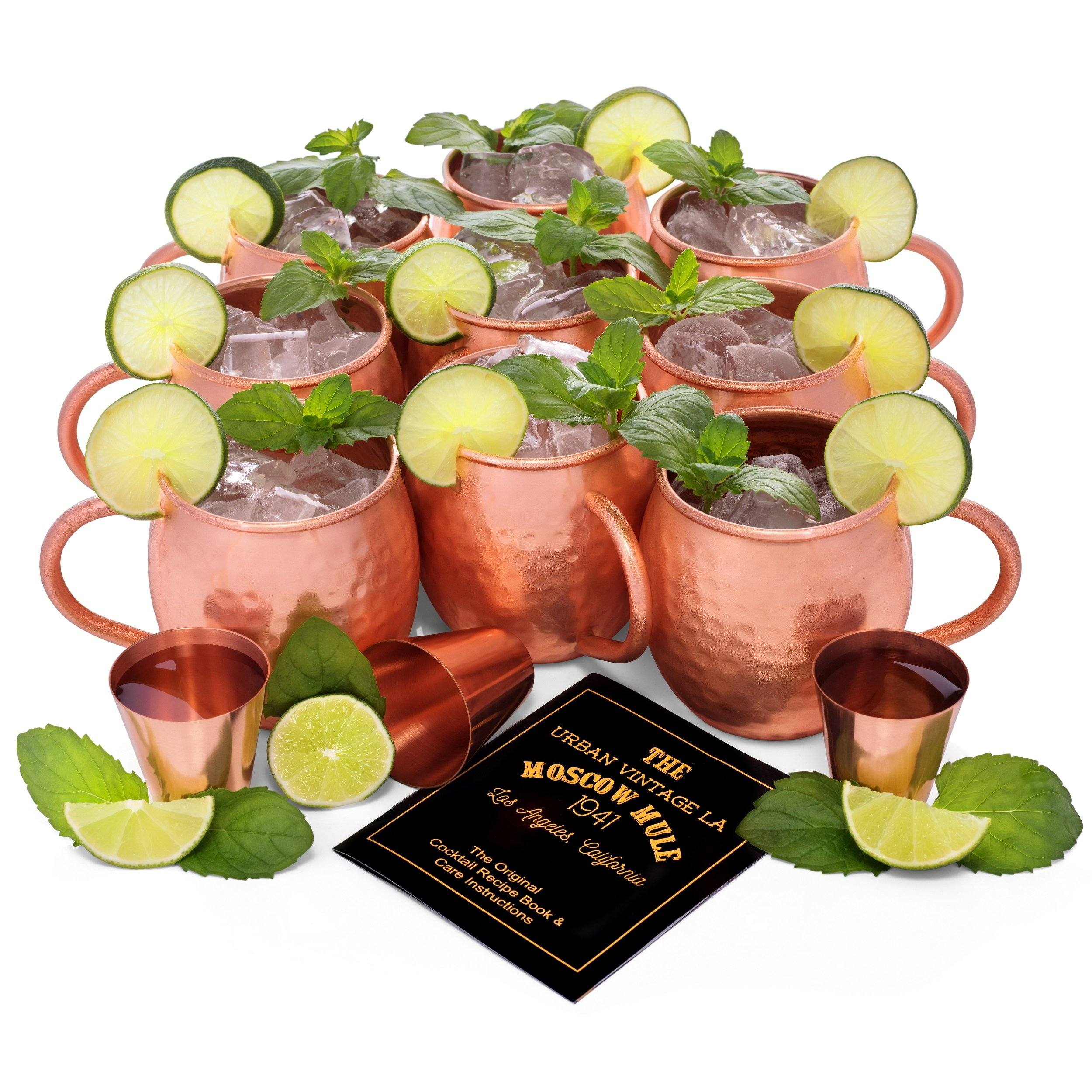 Urban Vintage LA Moscow Mule Copper Mugs Set of 8 Value Pack For Large Parties
