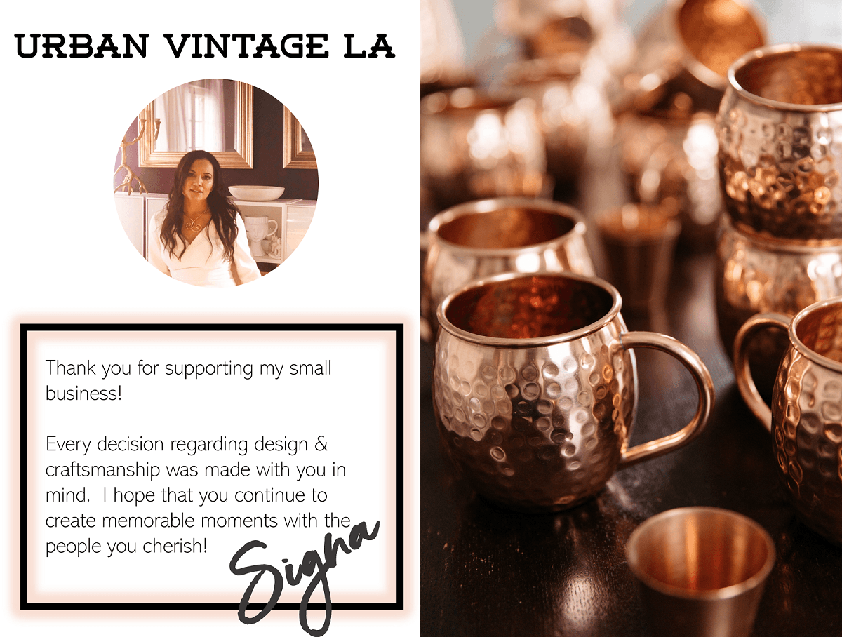 Urban Vintage LA Founder Signa with About Us Message