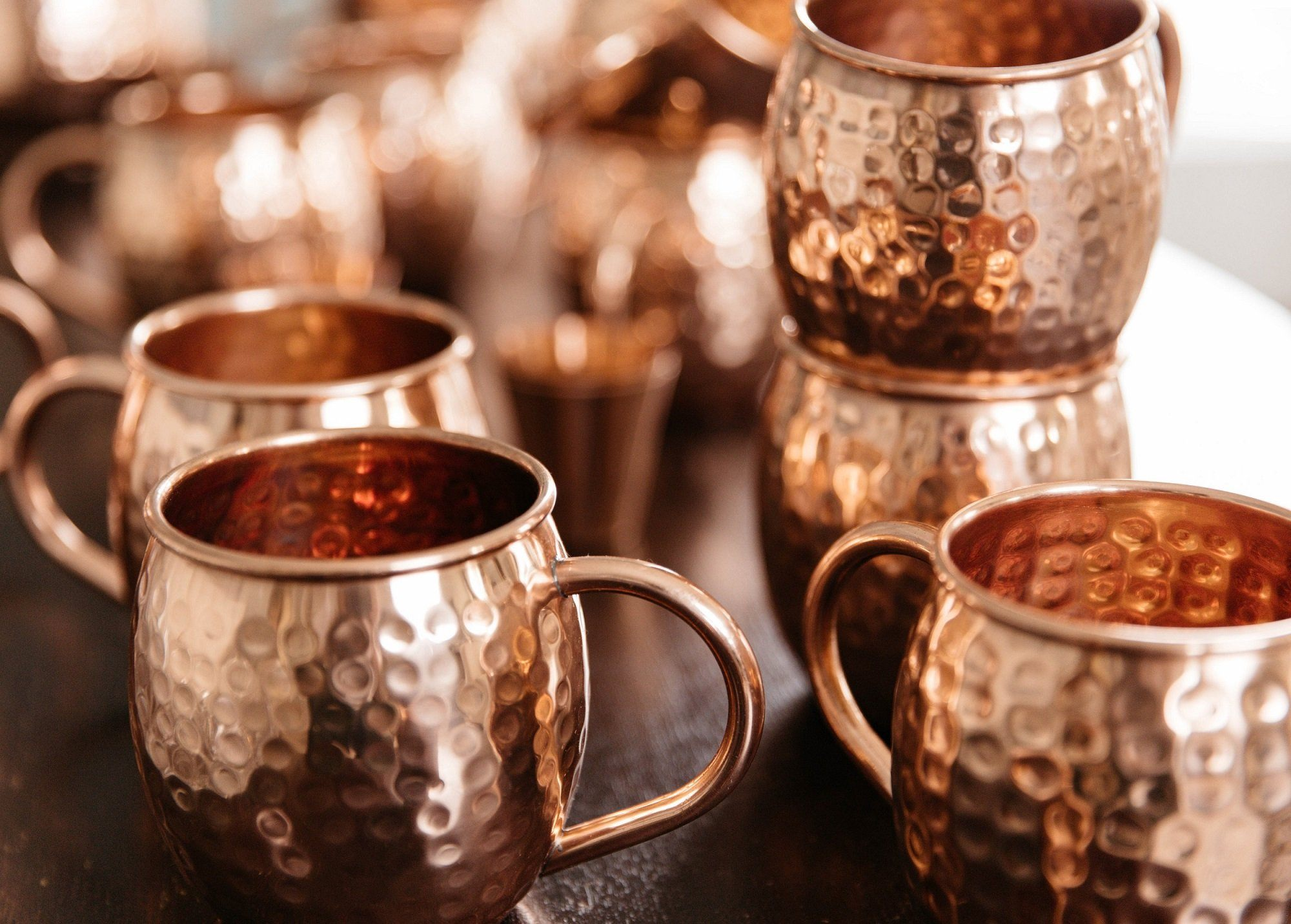 Urban Vintage LA Moscow Mule Copper Mugs On A Coffee Table