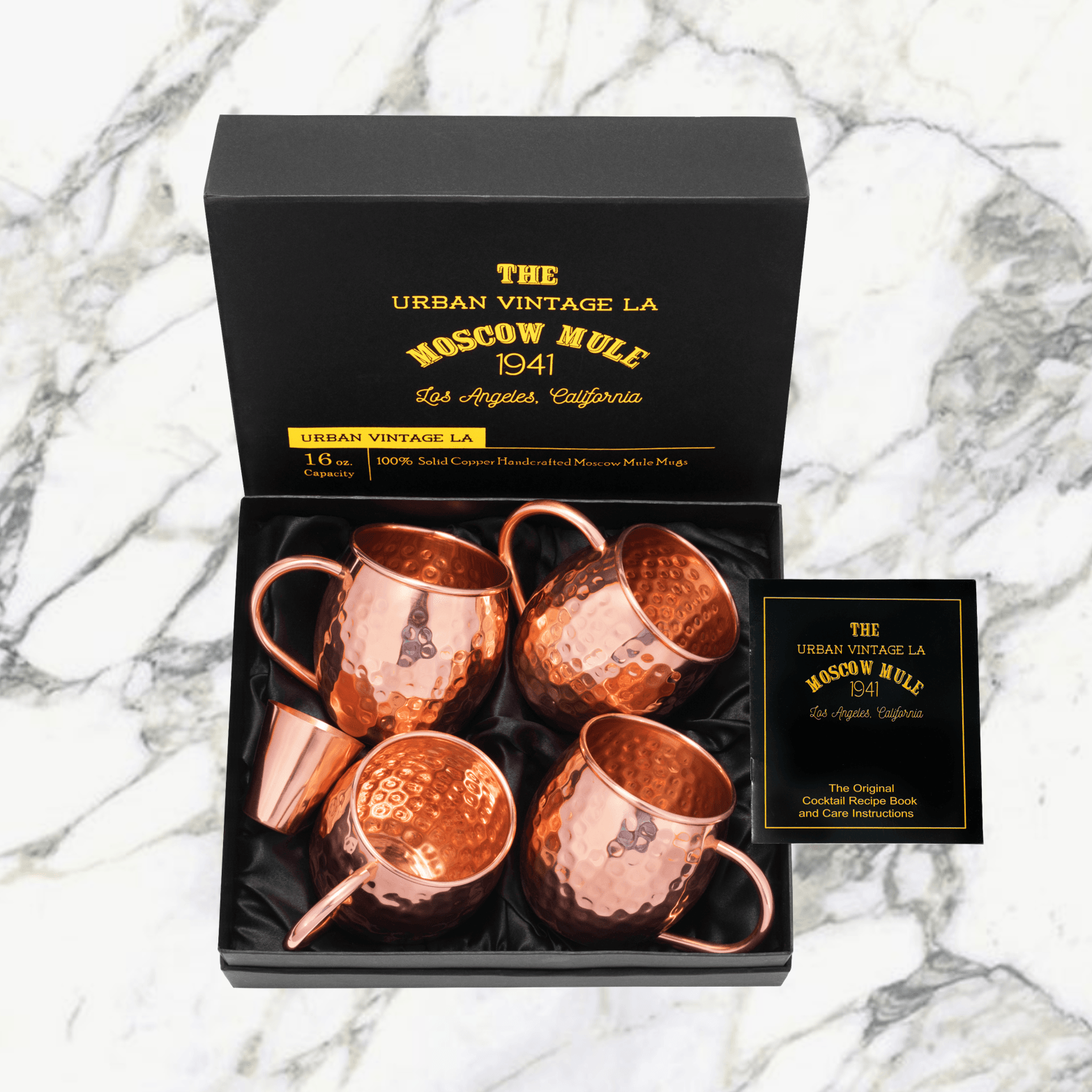 Urban Vintage LA Moscow Mule Copper Mugs With Shotglass in Gift Box With Illustrated Recipe Book and Care Guide