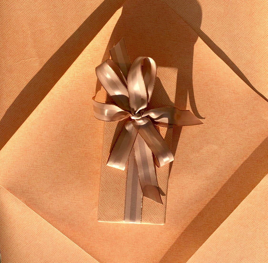 Tan Grosgrain Ribbon with Rose Gold Border | Metallic Ribbon for Holiday Gifts