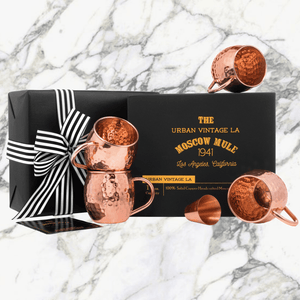 Urban Vintage LA Moscow Mule Copper Mugs In Black Gift Box With Shotglass and Illustrated Recipe Book and Care Guide Ready for Gifting