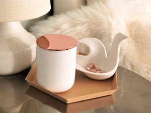 White Real Marble Jar with Rose Gold Lid by Urban Vintage LA
