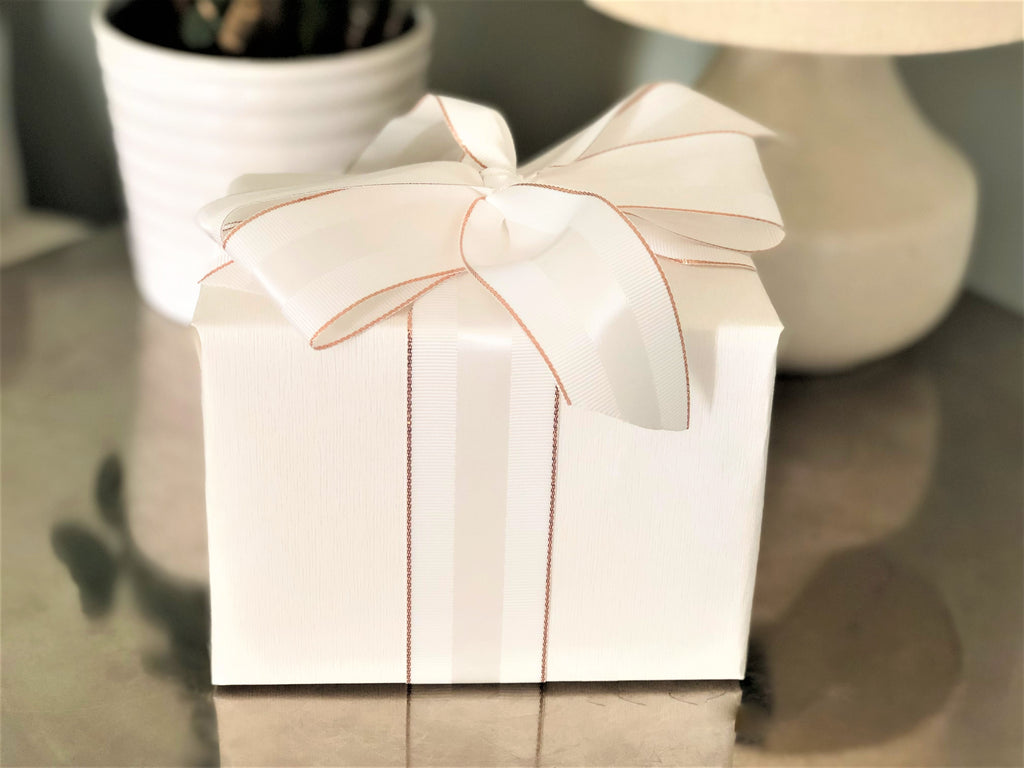 Winter White Grosgrain Ribbon with Rose Gold Border | Double Face, Ribbed Ribbon with Satin Strip