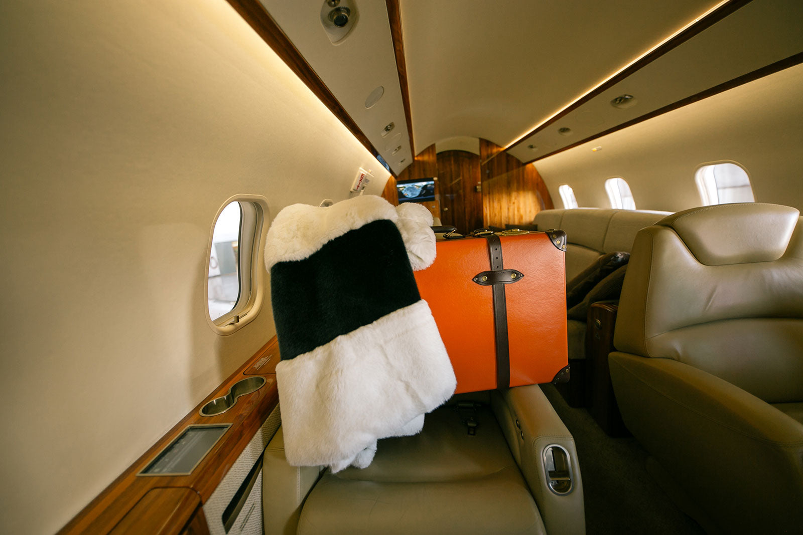 suitcase and fur coat on a plane, secret location concept store travel essentials