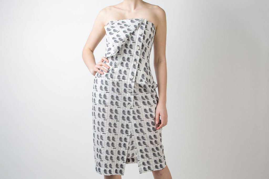 strapless summer cat print dress by Dawei
