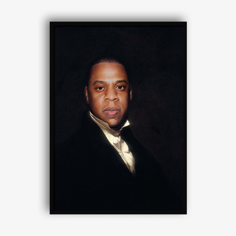 painted canvas art of Jay Z by Mood Prints at Secret Location Concept Store