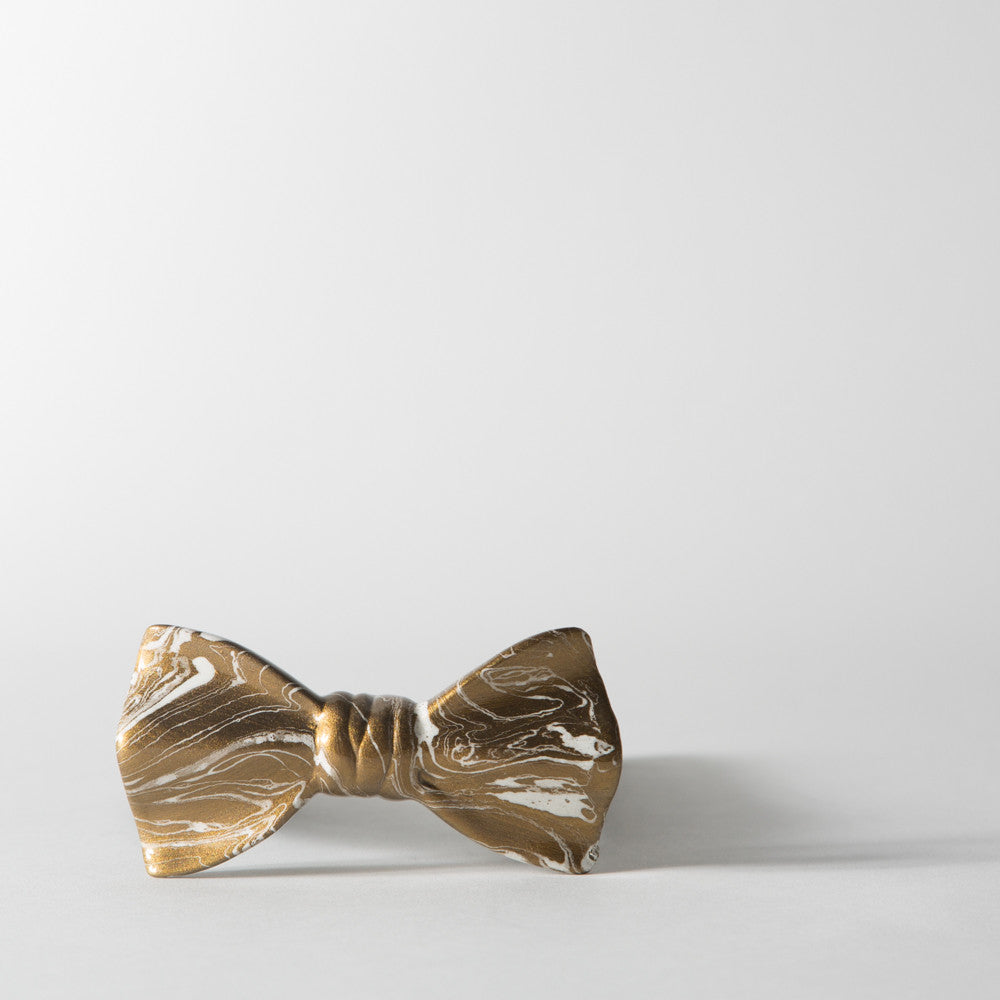 Faux Marble in Gold Bowtie