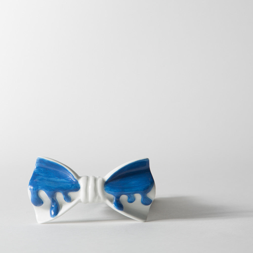Drippy White and Blue Bowtie