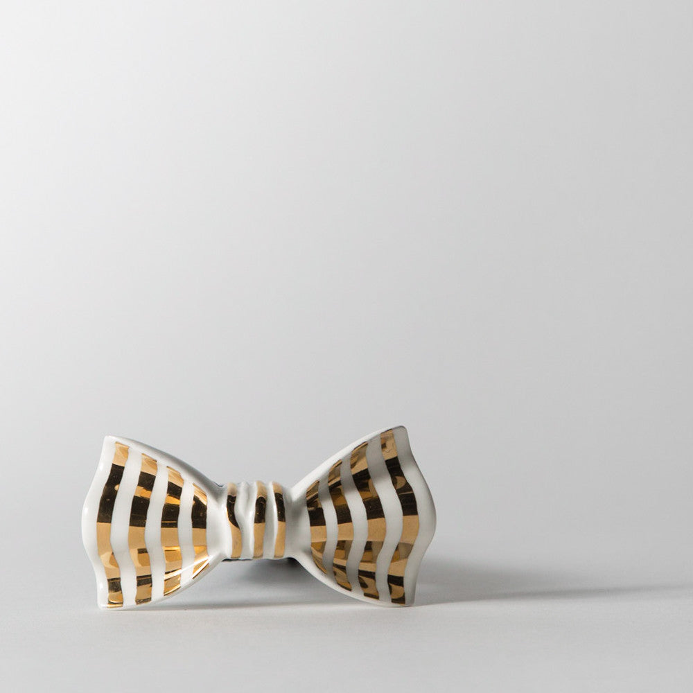 White and Gold Striped Bowtie
