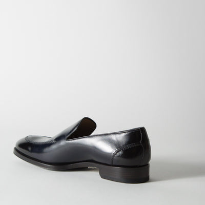 Dark Blue Leather Loafer
