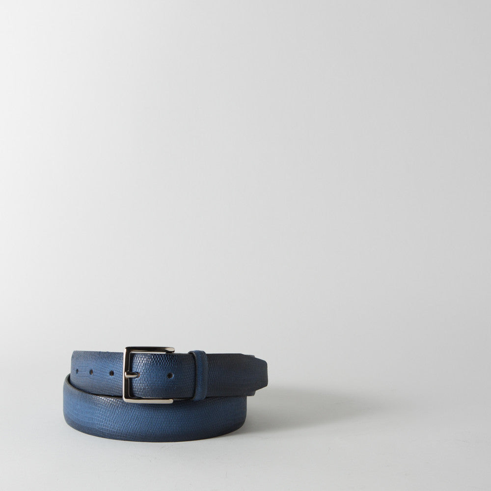 Lizard Embossed Leather Belt