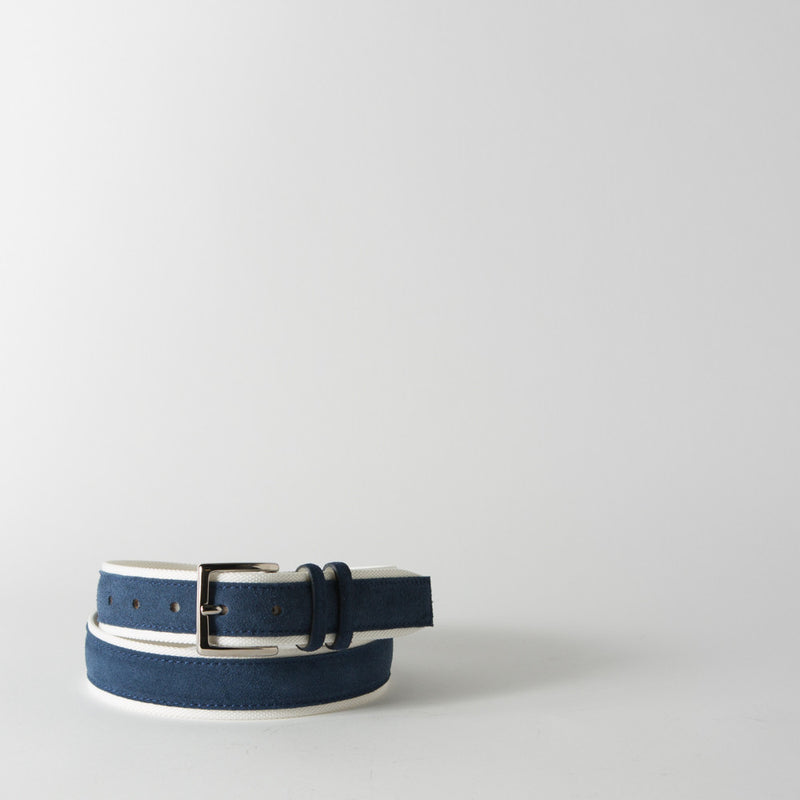 Blue and White Canvas and Suede Belt