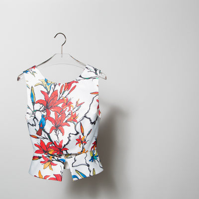 Coloured Flowers Printed Top with Wings