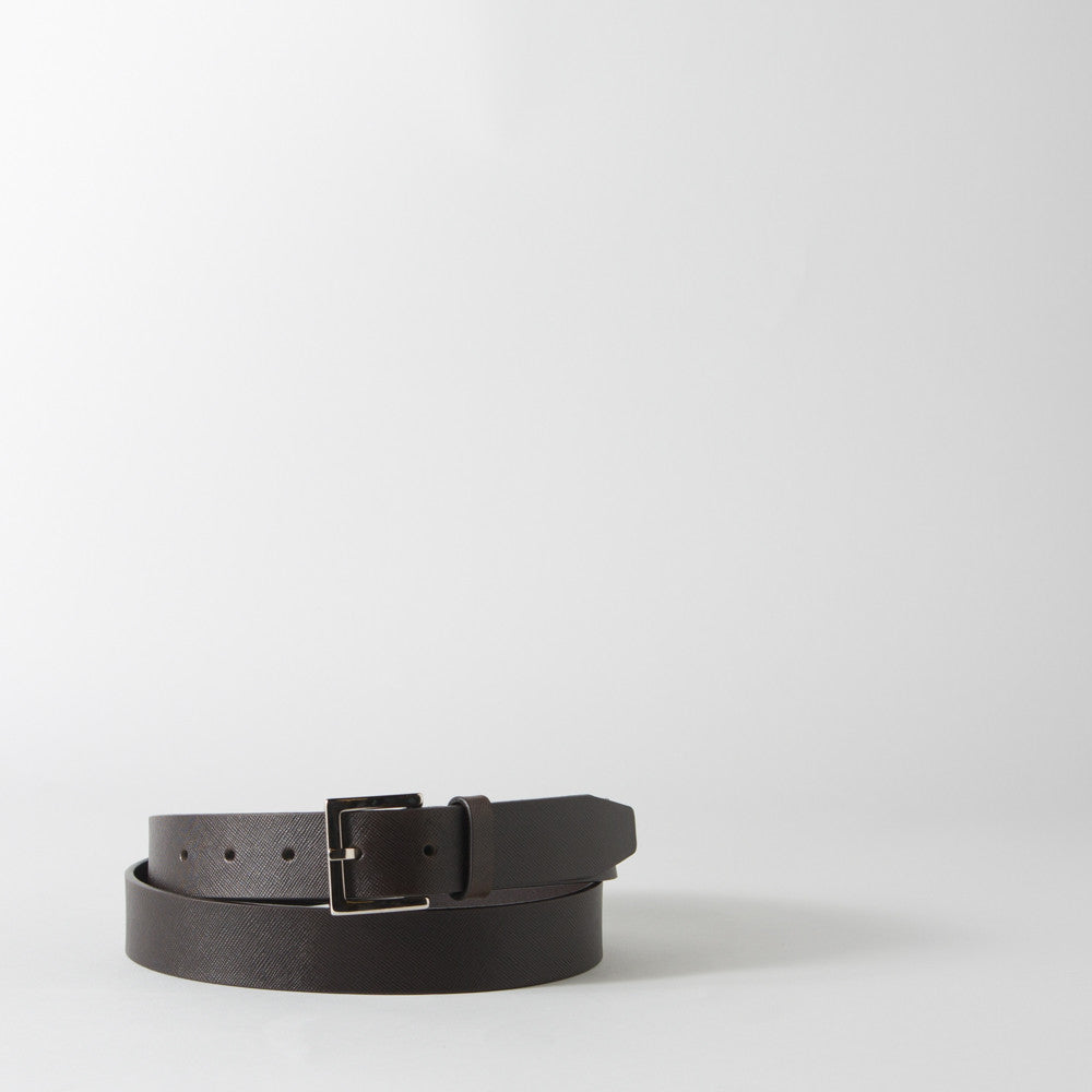 Textured Dark Brown Leather Belt