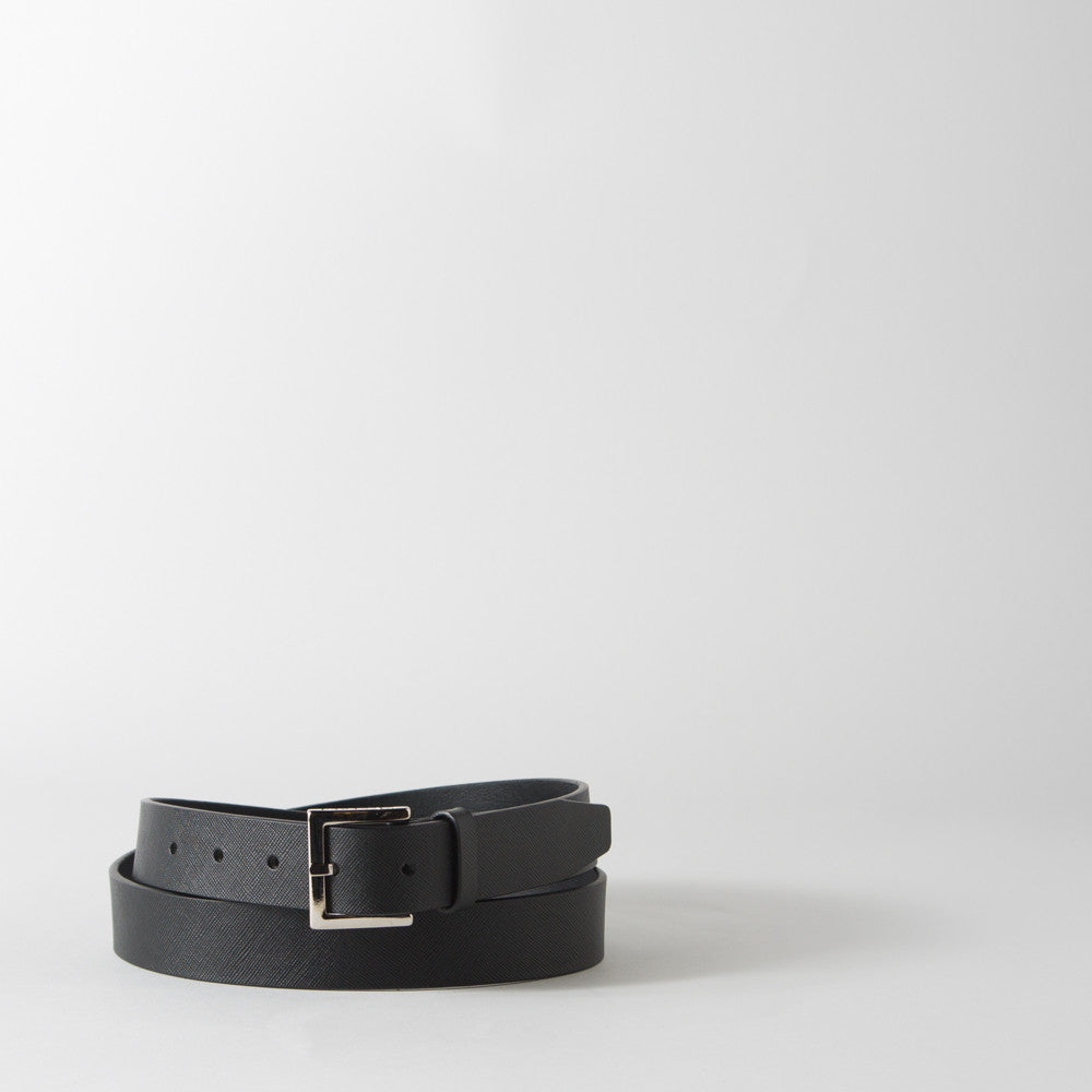Textured Black Leather Belt