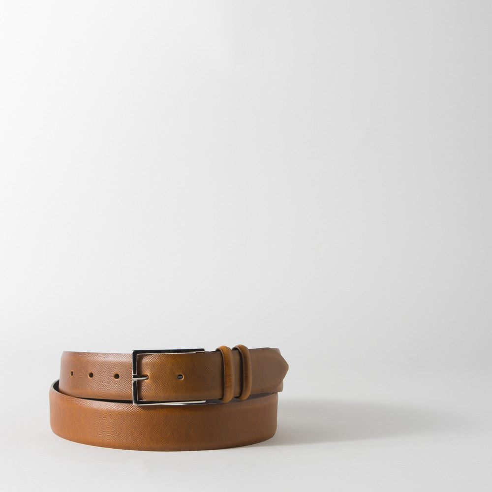 Textured Light Brown Leather Belt