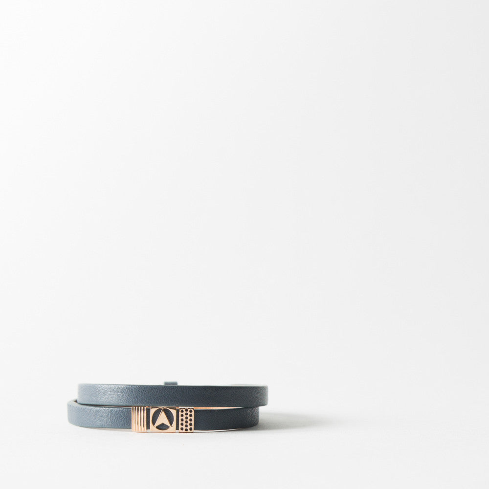 Insignia Wrap Around Leather Bracelet in Blue Rose Gold