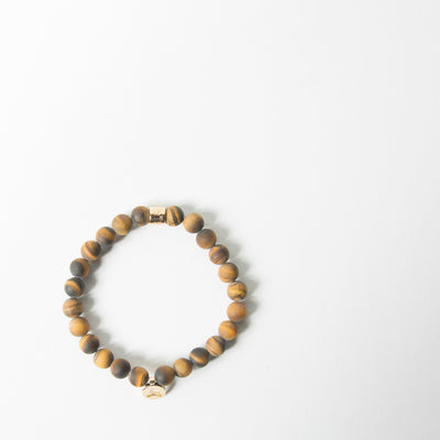 Matte Yellow Tiger Eye & Gold Insignia Charm Bracelet