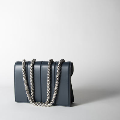 Dark Blue and Palladium Satin Shoulder Bag