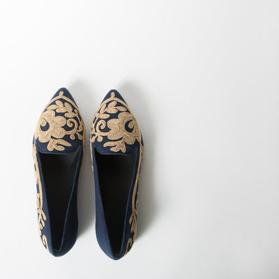 Blue Canvas & Gold Cornely All Side Embroidery Slipper