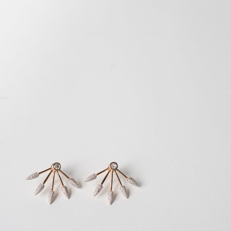 Five Spike Earrings, white diamonds