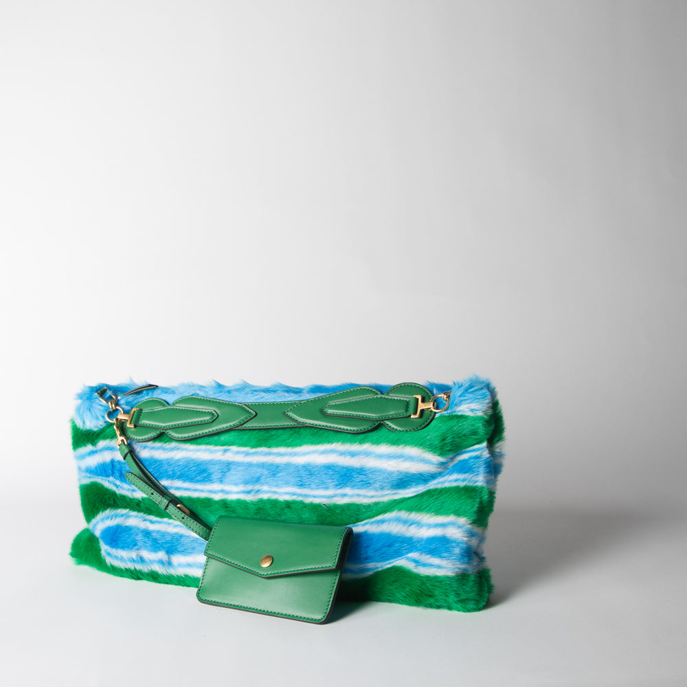 Pelliccia Clutch, green & blue stripe