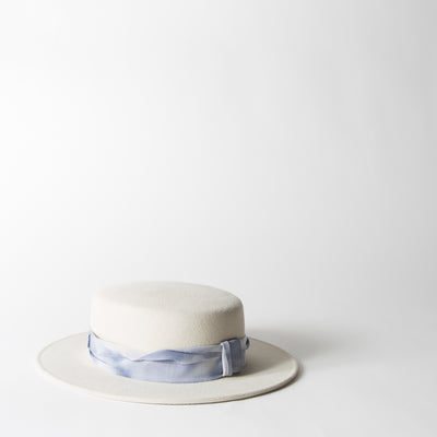 Kiki Boater Hat, washed-out ribbon