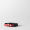 Tile Leather Bracelet, red & black