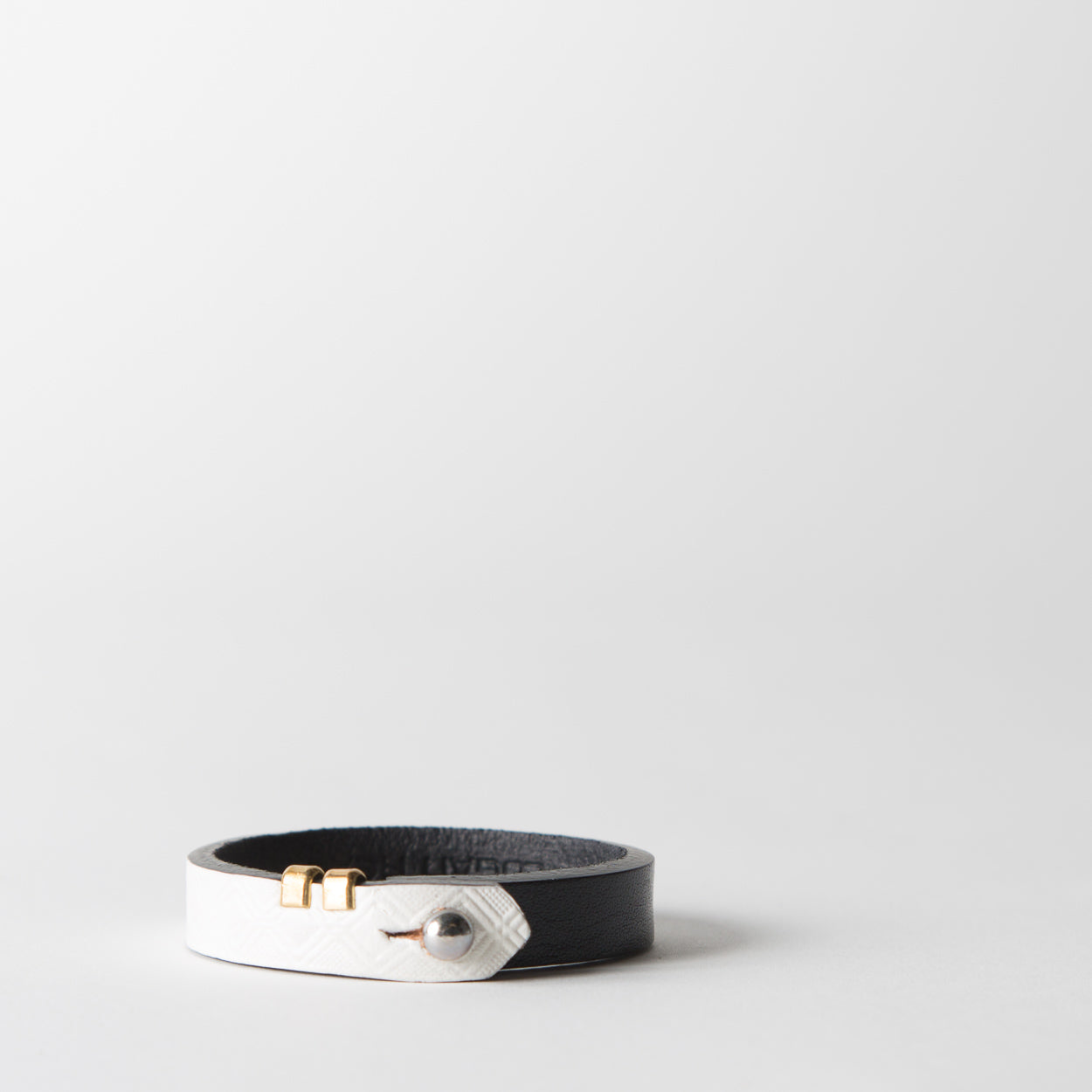 Tile Leather Bracelet, white