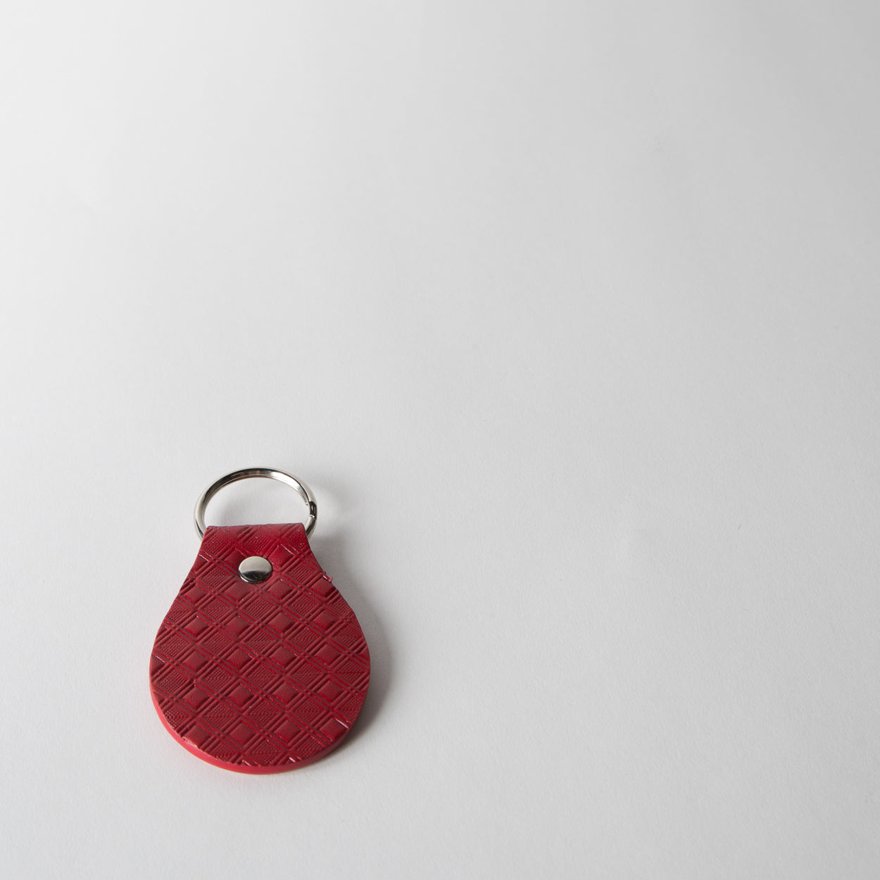 Leather Tile Keychain, red