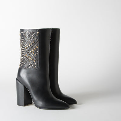 Leather Studded Boot, black & gold