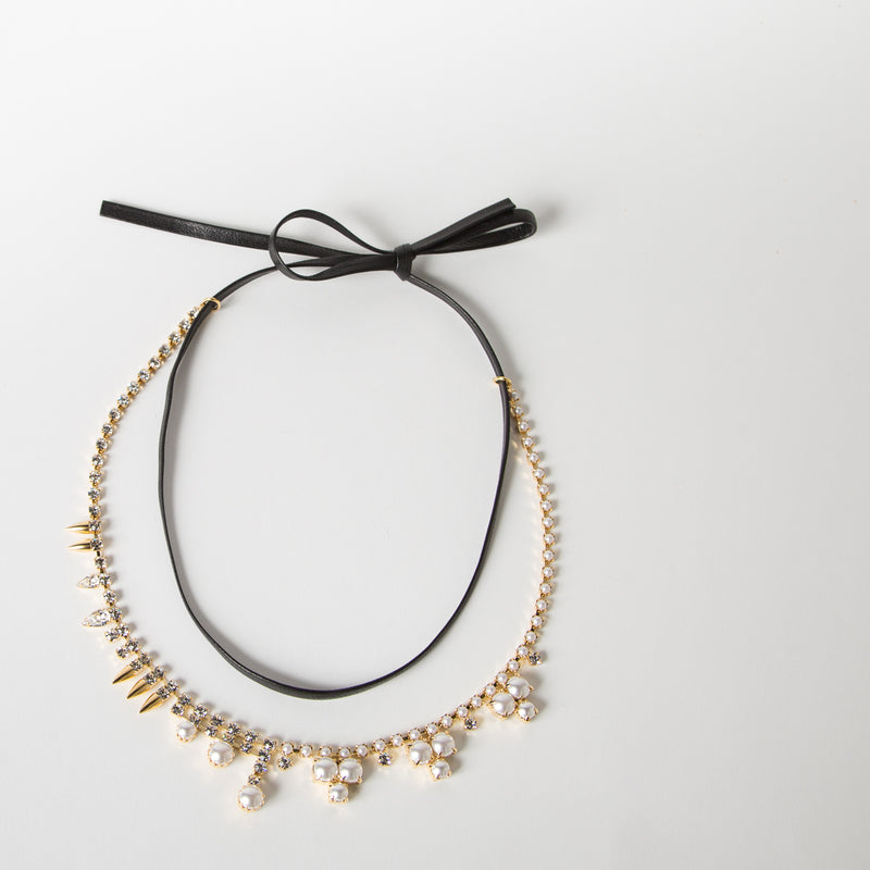 Crystal Pearl & Spike Necklace w/ Leather