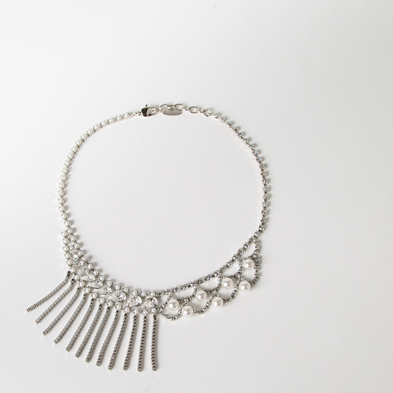 Crystal & Pearl Fringe Necklace