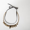 Black & Gold Crystal Necklace w/ Leather