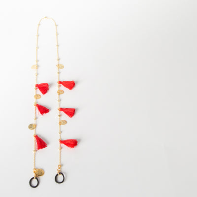 Tassel & Coins Chain, red