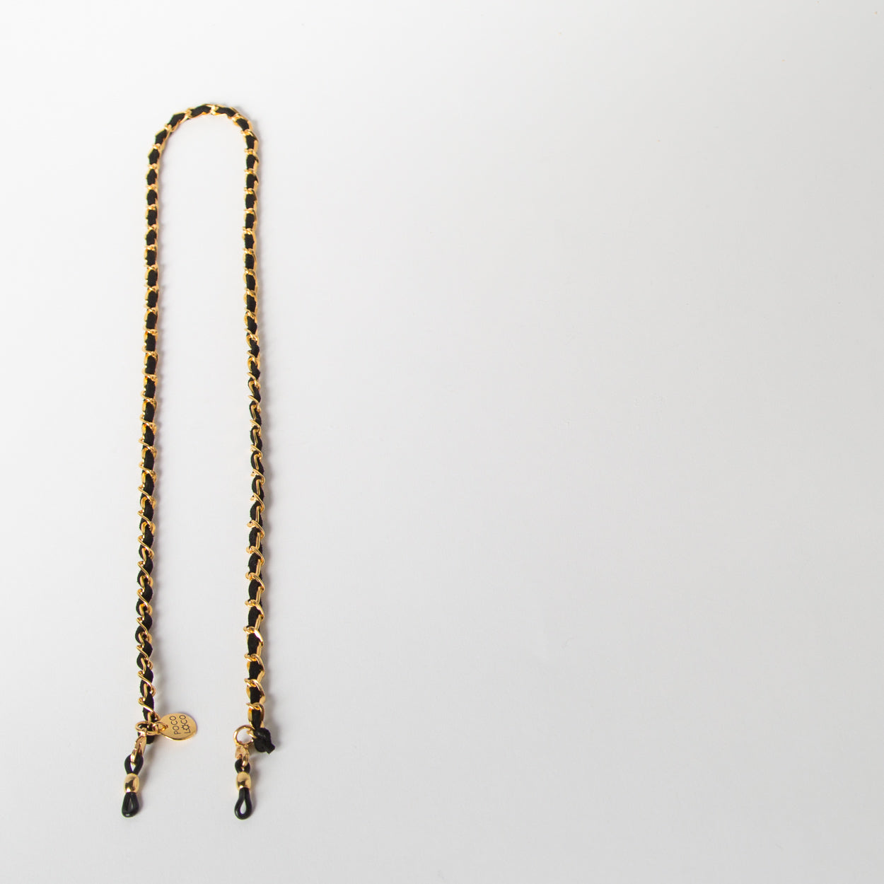 Chanel inspired black & gold chain eyewear strap by Poco Loco