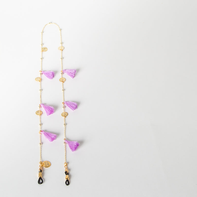 eyewear chain accessory in violet and gold by SpecSet at Secret Location