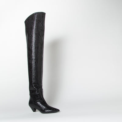 Asia Thigh-High, black croc