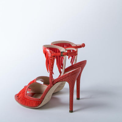 Ankle-Strap Heels, red