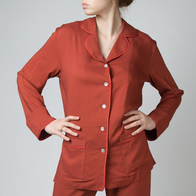 Pajama Suit Set, wine