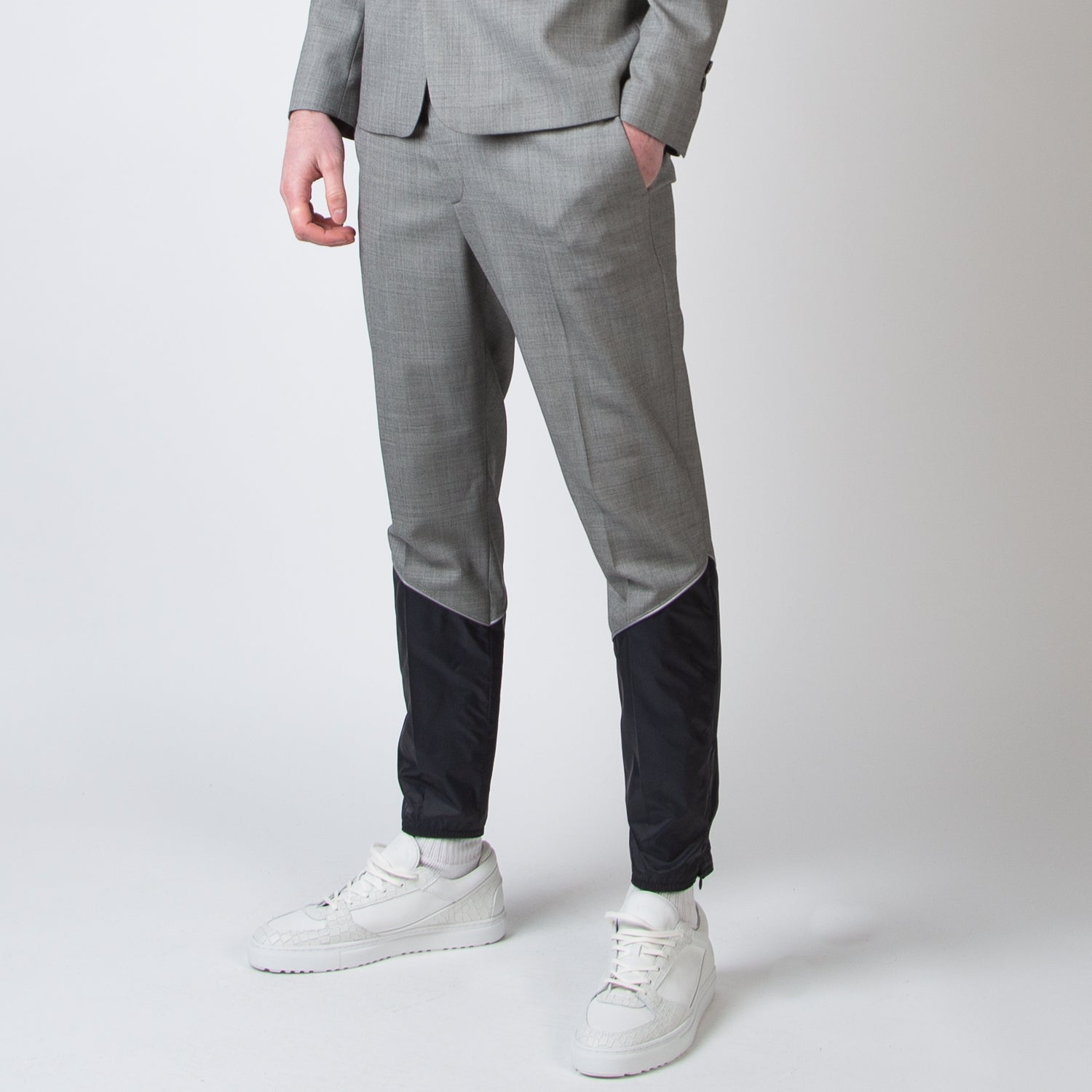 Slim Trousers with Partial Patched Legs and Elastic Leg Border