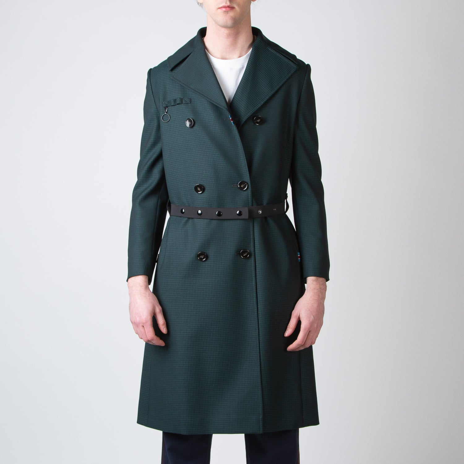 Double-Breasted Coat with Black Zipper-Ring & Black Elastic Belt